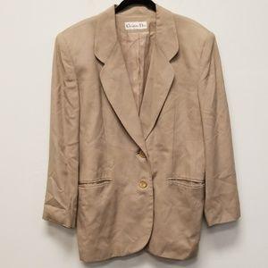 Christian Dior Men Tan Button Blazer